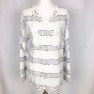 Old Navy Large Striped White Coral Button Blouse